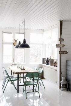 Scandinavian home, via Style Files  Love the ceiling....
