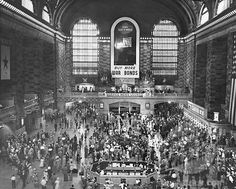 grand central train station wall art | angle view of a group of people at a railroad station, Grand Central ...