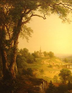 Hudson River School painting entitled 'Sunday Morning' by Asher Brown Durand - Detail view #1