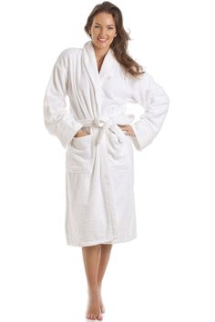 Womens Luxury White 100% Cotton Towelling Bath Robe Size Large 5c7844f4f