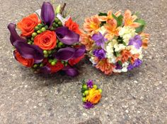 Orange and purple wedding package. Purple callas, green hypericum berries, orange renuculus.  Bride, bridesmaid, and groom, $200 Bridesmaid Bouquet, Wedding Bouquets, Wedding Flowers, Wedding Flower Packages, Groomsmen Boutonniere, Flower Packaging, Orange And Purple, Purple Wedding, Flower Making