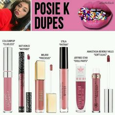 Liquid lipsticks dupes Posie K Kylie Jenner/ Clueless Colourpop/ Mother Kat Von…