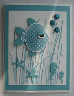 fish card...cute idea using ornament punch..so clever!