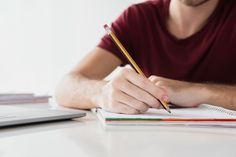 Man writing on his notepad with pencil F. Learning A Second Language, First Language, Native Child, Free Education, Vector Photo, Free Photos, Pencil, Writing Notepad, Design