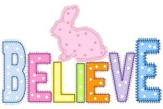 Believe Bunny Applique - 3 Sizes! | Easter | Machine Embroidery Designs | SWAKembroidery.com Band to Bow
