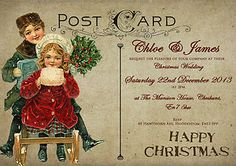 PERSONALISED VINTAGE POSTCARD CHRISTMAS WEDDING INVITATIONS | eBay