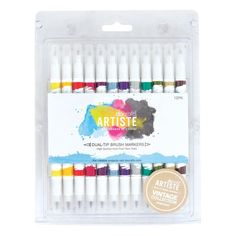 Docraft Artiste Dual Tip Permanent Brush Marker Pens Art/Craft x 12 Vintage