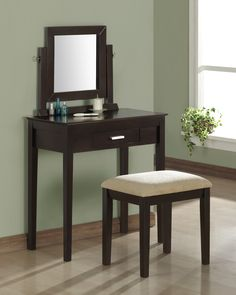 Bedroom. minimalist dark wooden make up table with single drawer and square mirror. Wonderful Makeup Vanity With Drawers And Mirror Design Ideas