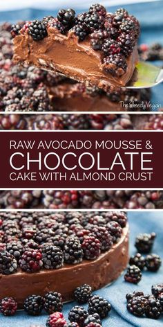 Raw avocado and chocolate mousse cake. Gluten free. Dairy  free. No-bake.