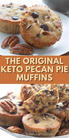 The one, the only, the ORIGINAL keto pecan pie muffins recipe. Accept no substitutes! These dense low carb muffins taste just like the filling from a gooey pecan pie. Add chocolate chips or not, it's up to you. They also travel really well and can be stored and frozen for several months, so they're perfect for keto meal planning. Low Carb Sweets, Low Carb Desserts, Low Carb Recipes, Real Food Recipes, Low Carb Bread, Low Carb Keto, Keto Bread, Pecan Pie Muffins, Keto Friendly Desserts