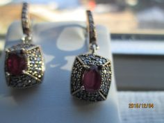 Vintage  Art Deco .64ctw Ruby and White Sapphire Rose Gold/925 Sterling Silver Dangle Earrings 10.4 Grams by TamisVintageShop on Etsy