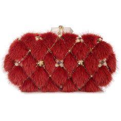 Marchesa Lily Mink Fur Oval Box Clutch Bag