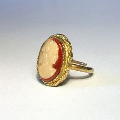 1970s Cameo Ring Gold Rope Frame Adjustable Faux Shell Portrait Victorian Revival Orange White