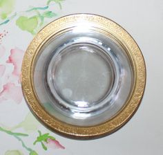 Vintage, Set of 7, Glastonbury / Lotus, Rambler Rose, Gold Encrusted, Bread and Butter Plates