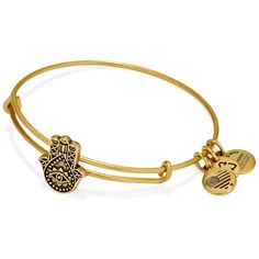 Alex and Ani Hand of Fatima Slider Expandable Wire Bangle ($28) ❤ liked on Polyvore featuring jewelry, bracelets, alex and ani bangles, 24 karat gold jewelry, expandable bangle, hinged bangle and wire bangle bracelet