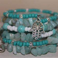 Wrap bracelet Memory Wire, turquoise stone beads, amazonite chip beads, glass beads, charms