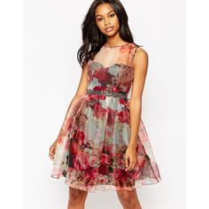 Little Mistress Midi Skater Dress in Floral Organza ($63) ❤ liked on Polyvore featuring dresses, print, floral midi dress, midi skater dress, tall dresses, white dress and fit & flare dress