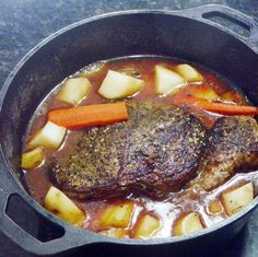 Zipped Up POT ROAST (SHHH, the secret is the... Well, there is a secret that guarantees juicy and FULL OF FLAVOR pot roast just like Mom used to make (well, with that secret kick). All in a dutch oven, just add carrots, onions and potatoes and you have a full meal!