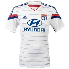 Les Gones (The Kids) new home jersey is in OL's traditional white with thin blue horizontal stripes. It uses one of adidas' new designs for the 2014/15 kit cycle with a white v-neck with red trim.
