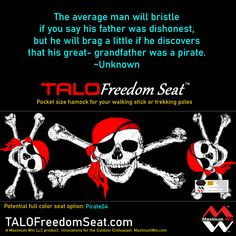 """It was suggested to add Pirate themed selections to the print variations of the TALO Freedom Seat. Need a commitment of 24 to make this option a reality """"Pirate 04"""" Other seats available now, great holiday gifts. The TALO Freedom Seat is the pocket size hammock used with your walking stick or trekking poles. Made in the U.S.A. #pirates #piratelife #hiking #walking #physicaltherapy"""