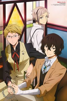 artbooksnat:  Bungou Stray Dogs (文豪ストレイドッグス) Doppo Kunikida, Osamu Dazai, and Atsushi Nakajima relax together in the latest Newtype Magazine (Amazon US | Japan) poster for Bungou Stray Dogs, illustrated by key animator Naomi Kaneda (金田尚美).