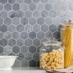 tiles Backsplash Ivy Hill Tile Stowe Hexagon Honeycomb x Marble Mosaic Tile in Gray Hexagon Backsplash, Grey Backsplash, Hexagon Tiles, Backsplash Ideas, Honeycomb Tile, Wallpaper Backsplash Kitchen, Stove Backsplash, Backsplash Design, Tile Ideas