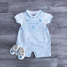 Baby Boy Blue White Check Romper Traditional Spanish Checkered Outfit by Zip Zap