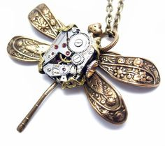 Steampunk necklace steampunk dragonfly with by Federikas on Etsy