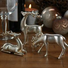 Decorative Silver Reindeer in Assorted Sizes - Set of Six
