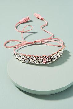 Shourouk Pink Alcantara Choker Necklace