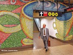 """New app Arts for Transit lets you learn about art in the New York subway. Image: 59th Street; Elizabeth Murray; """"Blooming""""; 1996."""