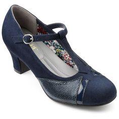 1920s Style Shoes Georgette Shoes - Navy Multi Standard Fit 11 $115.00 AT vintagedancer.com