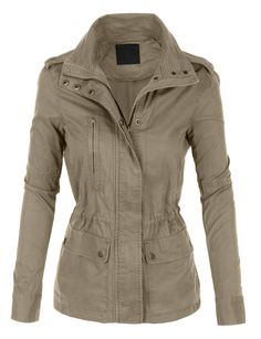 LE3NO Womens Stand Collar Safari Anorak Jacket with Pockets | LE3NO
