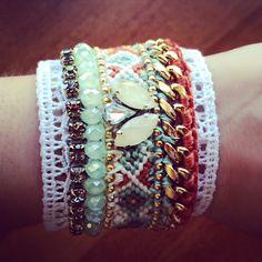 My first handmade statement friendship bracelet with lace ! #diy
