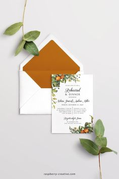 Fall Rehearsal Dinner Printable Template Greenery Citrus image 0