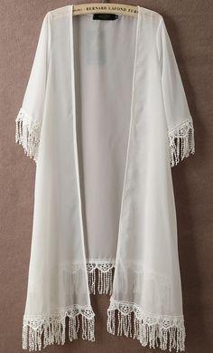 💥festival Sheer boho wht fringe kimono jacket M Coachella ready ‼️✨White boho chiffon fringe kimono. Open lovely over jeans or cutoffs. A laid back sexy retro vibe. Gorgeous cool🌟Size M Jackets & Coats Chiffon Cardigan, Chiffon Kimono, Lace Kimono, Chiffon Tops, Open Cardigan, Kimono Coat, Kimono Outfit, Pakistani Formal Dresses, Iranian Women Fashion