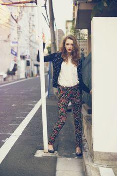 ☆bijou tops stretch flower print pants