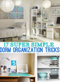 17 Super Simple Dorm Organization Tricks/Some of them good for non-dorm living as well Organisation Hacks, Dorm Room Organization, Travel Organization, Dorm Storage, Organizing Tips, Dorm Life, College Life, College Ready, Do It Yourself Organization