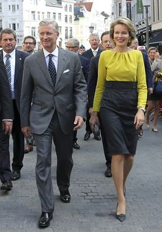 King Philippe and Queen Mathilde of the Belgians attended the inauguration of the replica Pontoon Bridge in Antwerp today.