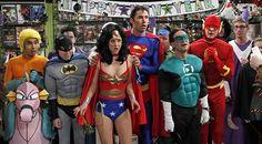 The Justice League. Raj is Aquaman, Howard is Batman, Penny is Wonderwoman, Zack (Penny's boyfriend) is Superman, Leonard is The Green Lantern, and Sheldon is The Flash
