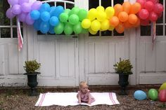 theme Color Me Beautiful Rainbow balloon banner