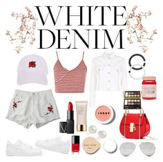 """WHITE DENIM  w/red"" by lauralydix ❤ liked on Polyvore featuring Canopy Designs, NIKE, Topshop, Maje, Armitage Avenue, NARS Cosmetics, Chanel, Bobbi Brown Cosmetics, Estée Lauder and Lokai"