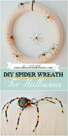DIY Halloween Spider Wreath | Dans le Lakehouse. Click through to learn how to make this easy DIY Halloween wreath. Start with a DIY yarn wreath (I also show you how to turn a pool noodle into a wreath form). Then we add the beaded spiders - I show you how to make those too! It's easy to create this minimalist Halloween wreath, perfect for modern Halloween decorating. Add some sparkle to Halloween front door decor. #halloweendecor #diyyarnwreath Diy Halloween Spider, Christmas Spider, Modern Halloween, Diy Halloween Costumes, Halloween Crafts, Halloween Front Door Decorations, Halloween Front Doors, Diy Yarn Wreath, Sugar Skull Nails