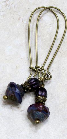 Rustic Plum Purple Czech Glass Bead Dangle Drop Earrings, Unique Boho Bohemian Jewelry.