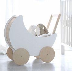 Ooh noo houten poppenwagen wit PRE ORDER - DE GELE FLAMINGO - 1