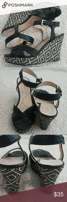 Nine West Black and White Wedge Sandal Size 6 Black and white wedge platform. Some wear as seen on pictures but still in really good condition.   *Pet and smoke-free home! I often adjust my price during Posh parties and promos, keep an eye out!! Offers welcomed! Nine West Shoes Wedges