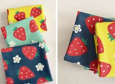 Cute Strawberry and Flower Pattern 20s Cotton Panel Fabric (3 Colors Package) by luckyshop0228 on Etsy https://www.etsy.com/listing/186879050/cute-strawberry-and-flower-pattern-20s
