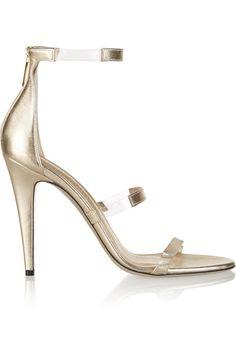 Tamara Mellon|Frontline metallic leather and PVC sandals|NET-A-PORTER.COM