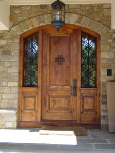 Superbe Exterior, Amazing Wood Front Entry Door With Twin Sidelights And Wrought  Iron Decoration Plus Unique