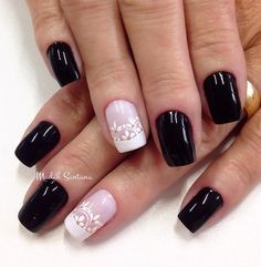A rather simple but elegant looking black and white nail polish. Add a simple French tip with flora designs and small beads on top and everything already looks perfect.